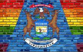Brick Wall Michigan And Gay Flags - Illustration, Rainbow Flag On Brick Textured Background,  Abstra poster