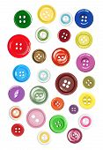 Постер, плакат: Vector Collection Of Buttons For Clothes Art And Crafts In Various Bright Colors And Sizes On White