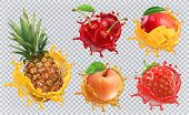 Pineapple, Strawberry, Apple, Cherry, Mango Juice. Fresh Fruits And Splashes, 3d Vector Icon Set poster