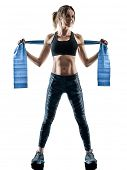 one caucasian woman exercising pilates fitness  elastic resistant band exercises isolated  silhouett poster