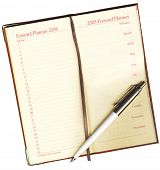 Forward Planner with a pen on a white background with Clipping Path