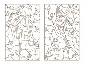 Set Of Contour Illustrations Stained Glass Windows With Birds, Swallow On Flowers Background And A P poster