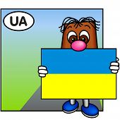 'Brownie' Showing The Flag Of Ukraine