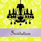 invitation with a lamp and roses on the background