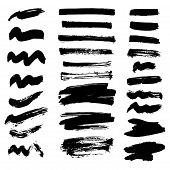 Vector Set Of Ink Splashes Blots Splatter Collection Grunge Design Black White And Art Messy Backdro poster