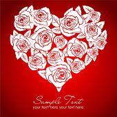 Valentine white rose heart on red background