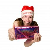 Funny Christmas Man Presenting Present