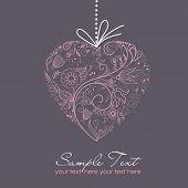 Постер, плакат: Розовое сердце на сером фоне