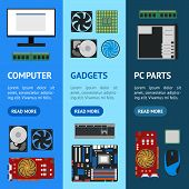 Cartoon Pc Components Banner Vecrtical Set Technology Concept Flat Design Style Include Of Monitor,  poster