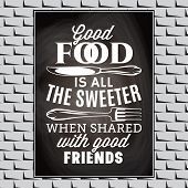 Vintage Typographic Food Quote For The Menu Or T-shift. poster