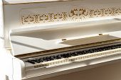 White Piano, Side View Of Instrument, Musical Instrument. Learn To Play The Instrument At Home. Whit poster