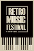 Vector Poster For Retro Music Festival With Piano Keys In Retro Style On Black Background poster