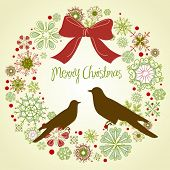 stock photo of christmas wreaths  - Vintage Christmas wreath and two birds - JPG