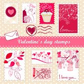 set of valentine`s day stamps