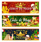 Cinco De Mayo Fiesta Celebration Banners Of Tequila, Jalapeno Pepper Or Cactus And Guitar. Vector Tr poster