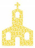 Christian Church Mosaic Of Dollars. Vector Dollar Currency Icons Are Grouped Into Christian Church M poster