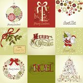 stock photo of christmas cards  - Set of Christmas Cards - JPG