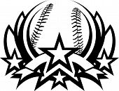 picture of fastpitch  - Graphic Template of a Baseball Vector Graphic - JPG