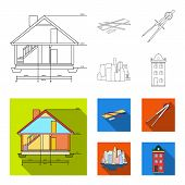Drawing Accessories, Metropolis, House Model. Architecture Set Collection Icons In Outline, Flat Sty poster