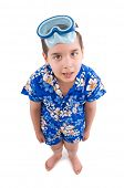Cool boy wearing hawaiian shirt ready to swim.