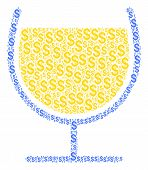 Wine Glass Composition Of American Dollars. Vector Dollar Currency Pictograms Are Grouped Into Wine  poster