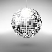 Disco Ball Isolated On Grayscale Background. Night Club Party Light Element. Bright Mirror Silver Ba poster