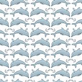 Seamless Pattern Dolphin And Anchor And Blue Sea. Animals, Nature, Wildlife. Engraved Hand Drawn. Ma poster
