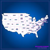 United States Of America Vector Map. Usa Map Vector Illustration. Regions Map. poster