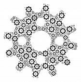 Cogwheel Composition Of Vector Gears. Vector Cog Wheel Elements Are Composed Into Cogwheel Mosaic. poster
