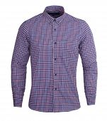 Perfect Dark Purple And Red Check Print Full Sleeves Shirt Gives Formal Look, You Can Wear A Solid P poster