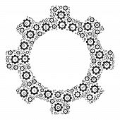 Gear Collage Of Tooth Gears. Vector Gear Pictograms Are Grouped Into Gear Mosaic. poster