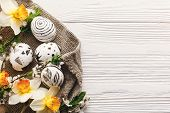 Stylish Easter Flat Lay. Painted Easter Egg Black And White Colors At Rustic Wooden Background With  poster