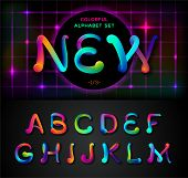 Colorful Dynamic Liquid Ink Alphabet. Color Mixing Thick Oil Paint Font In Style 80s. Neon Rainbow A poster