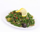 Tabbouleh salad on white