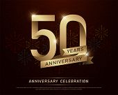 50th Years Anniversary Celebration Gold Number And Golden Ribbons With Fireworks On Dark Background. poster