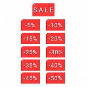 Sale, Set Of Vector Illustrations, Flat Design poster