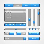 Clean Light Blue User Interface Controls. Web Elements. Website, Software Ui: Radio, Scroller, Input poster