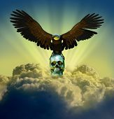 Eagle In Sky With Skull poster
