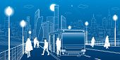 City Transportation Infrastructure Illustration. Passengers Get Off The Bus. People Walk Down The St poster