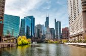 View Of Chicago Cityscape From Chicago River  Illinois, United States poster