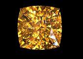Square. Citrine. Jewelry gems on black background