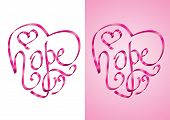 Hope - Heart Shape Calligraphy With Ribbon