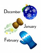 winter calendar - december, january, february