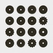 Set Of Different Black Silhouettes Of Circular Saw Blades. Sawmill Design Elements For Logotypes And poster