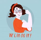 We Can Do It Poster. Strong Girl In Eyeglasses. Classical American Symbol Of Female Power, Woman Rig poster