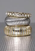 Three stacked of bangles isolated