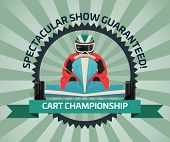 Cart Championship Banner In Flat Design Illustration. Auto Pilots Competition, Speed Racing, Extreme poster
