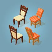 Постер, плакат: Isometric Cartoon Chairs Icon Set Isolated On Blue Chairs With White And Orange Striped Upholstery