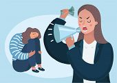 Vector Cartoon Illustation Of Angry Upset Mother Character Scolds Her Crying Naughty Teenager Daught poster