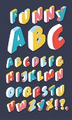 Vector Cartoon Illustration Of Isometric 3d Font In Different Color, Three-dimensional Alphabet Hand poster